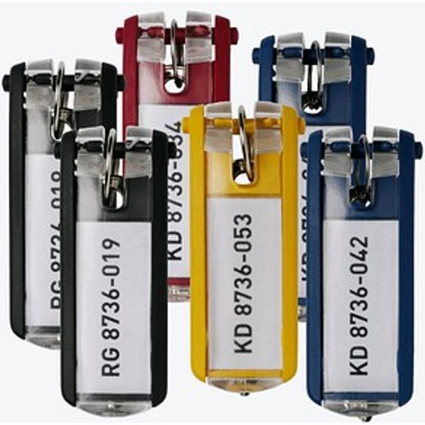 6 DURABLE Schlüsselanhänger KEY CLIP farbsortiert