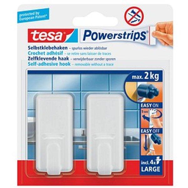 Tesa 2 crochets rectangulaires - blancs + 4 powerstrips