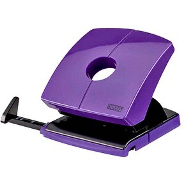 Novus B 230 Color ID Bürolocher, Sicher einrastende Anschlagschiene mit gut ablesbarer Formatanzeige, Farbe: dreamy lilac