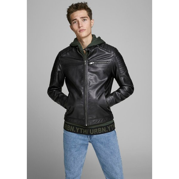 JACK & JONES Faux Leather Jacket Men Black