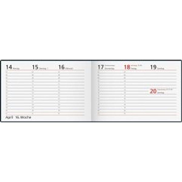 Rido Taschenkalender Septimus 15,2x10,2cm 1 Woche/2 Seiten Papier schw