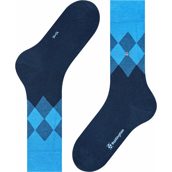 Burlington Hampstead Men Socks, 40-46, Blue, Argyle, Cotton