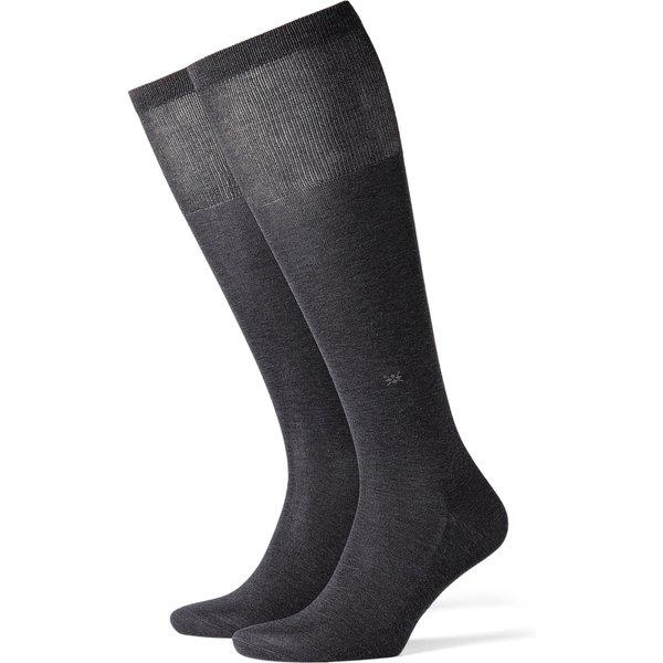 Burlington Cardiff Men Knee-high Socks, 40-46, Grey, Block colour, Cotton