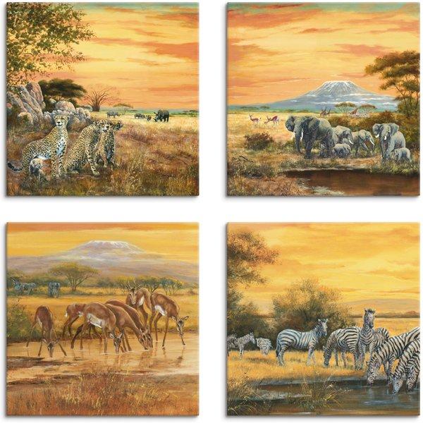 Artland Leinwandbild »Geparden Elefanten Zebras in der Steppe«