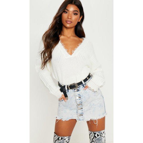 PrettyLittleThing - button through frayed hem mini skirt - 1