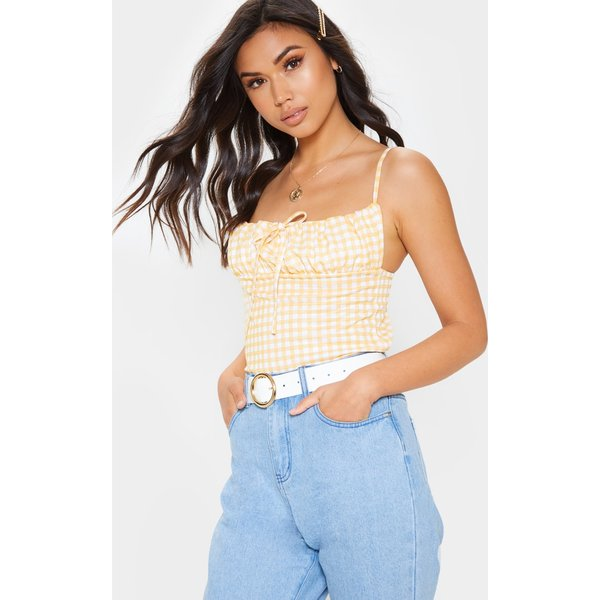 PrettyLittleThing - gingham ruched tie front cami top - 1