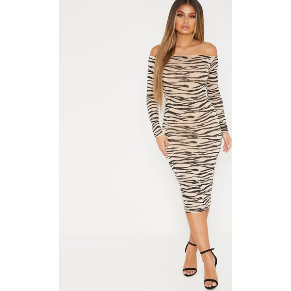 PrettyLittleThing - robe mi-longue à imprimé tigrures marron clair et col bateau - 1