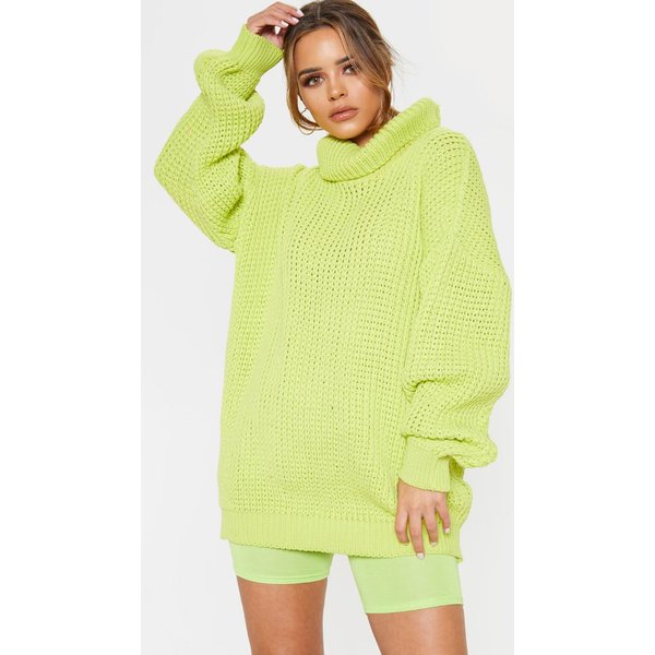 PrettyLittleThing - neon lime  roll neck oversized chunky knit jumper - 1