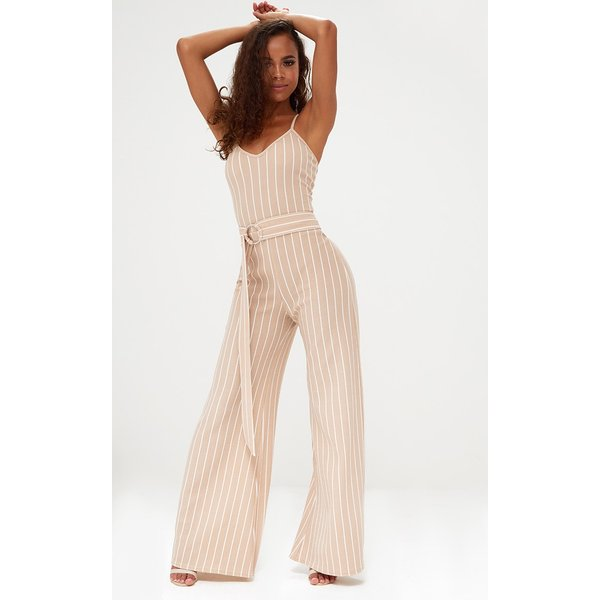 PrettyLittleThing - petite  pinstripe o-ring belt jumpsuit - 1