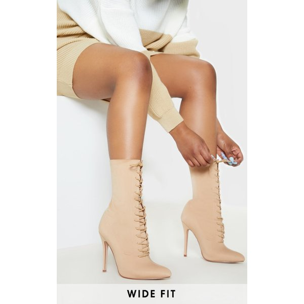 PrettyLittleThing - wide fit lace up sock boot - 1