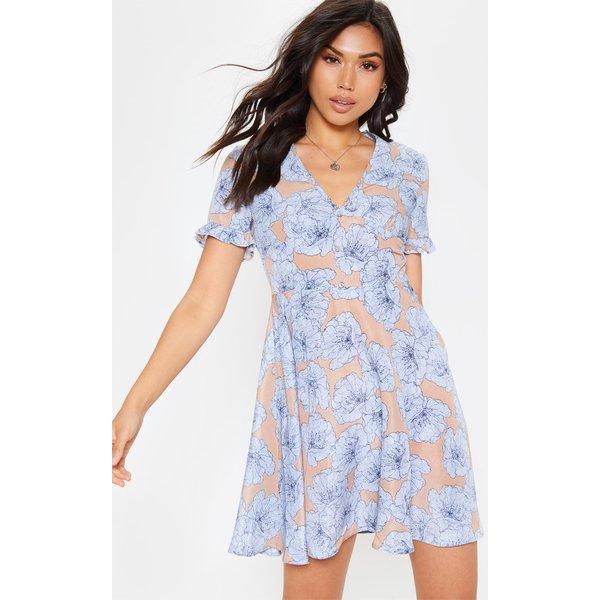 PrettyLittleThing - robe cache-coeur  imprimé floral à boutons - 1