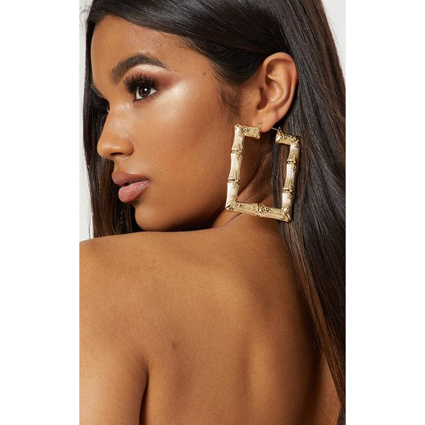 PrettyLittleThing - oversized bamboo square large hoop earrings - 1