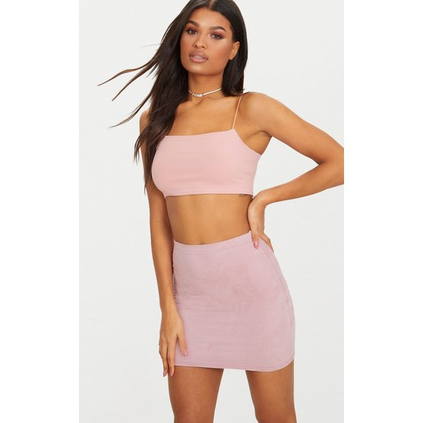 PrettyLittleThing - faux suede bodycon mini skirt - 1