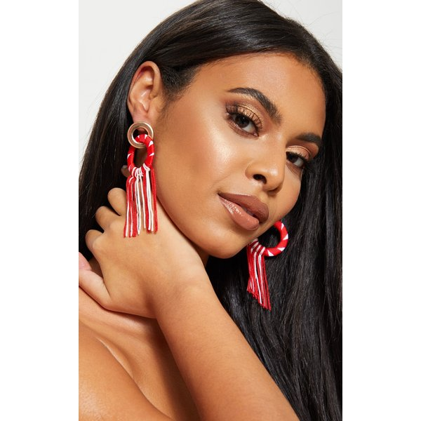 PrettyLittleThing - and white woven tassel gold ring drop earrings - 1