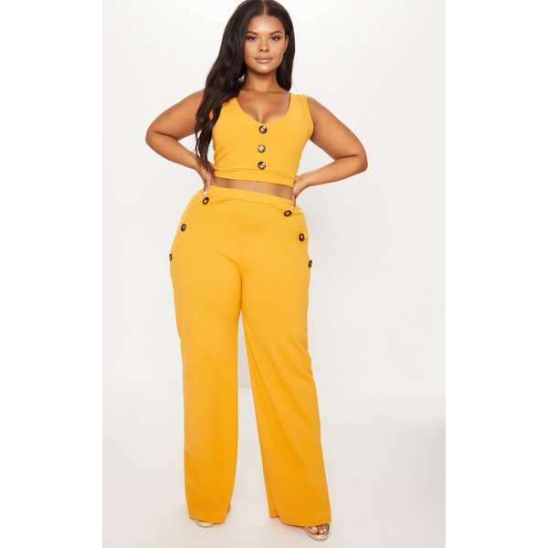 PrettyLittleThing - plt plus - pantalon ample moutarde à détail boutons - 1