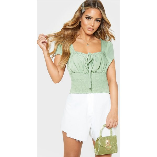 PrettyLittleThing - sage  tie detail shirred blouse - 1