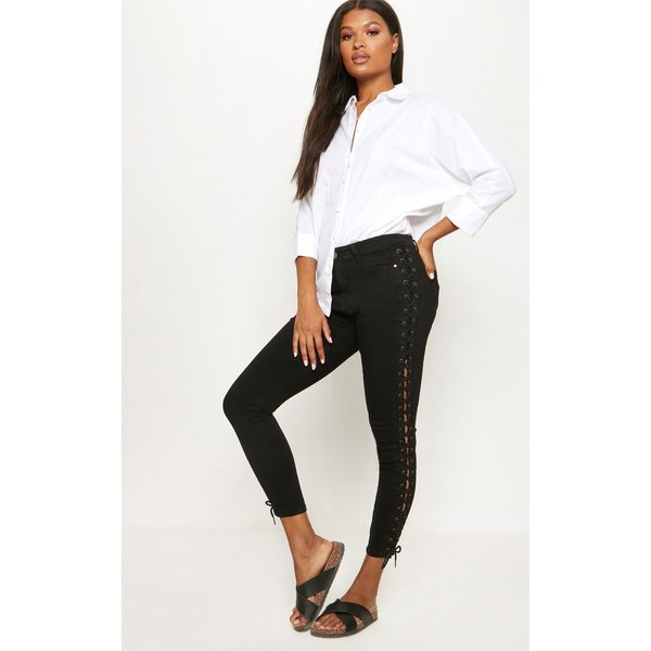 PrettyLittleThing - lace up side skinny jean - 1