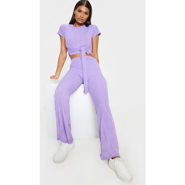 PrettyLittleThing - rib tie detail top and trouser set - 1