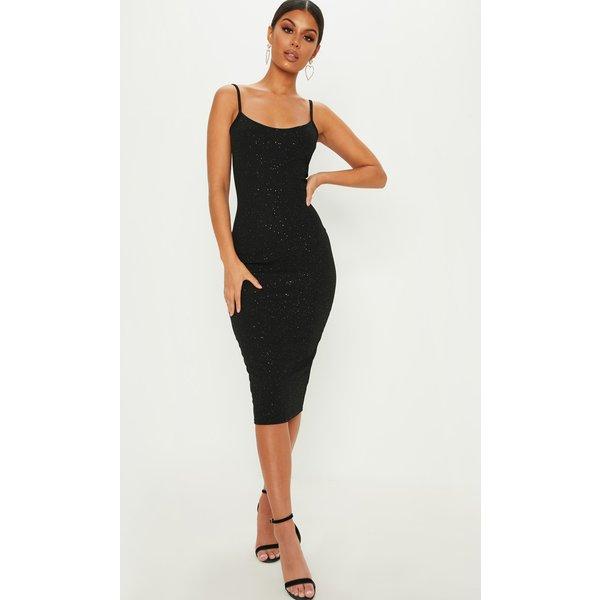 PrettyLittleThing - glitter strappy midi dress - 1