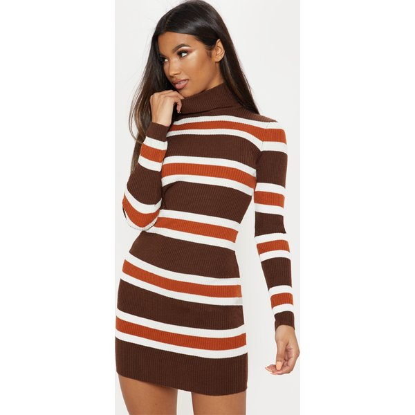 PrettyLittleThing - striped detail high neck knitted dress - 1