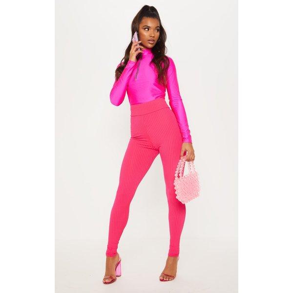 PrettyLittleThing - legging taille haute côtelé rose fluo - 1