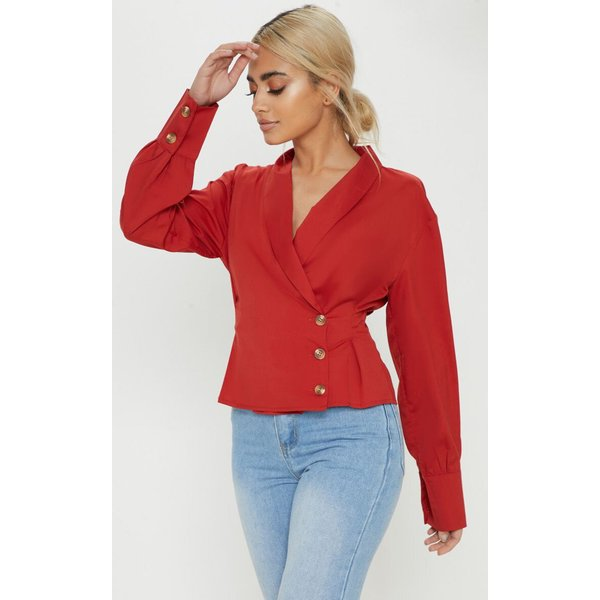PrettyLittleThing - button front blouse - 1