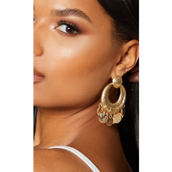 PrettyLittleThing - textured bamboo coin drop earrings - 1
