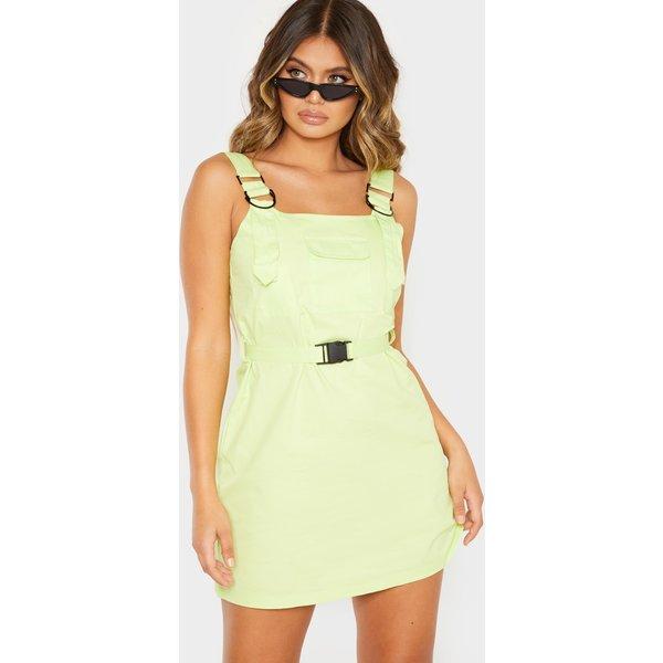 PrettyLittleThing - robe style cargo vert citron à poche & boucle - 1