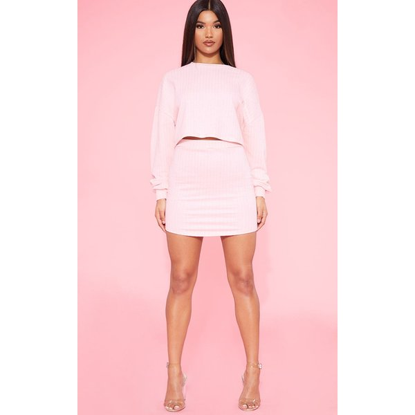 PrettyLittleThing - blush pinstripe sweat bodycon skirt - 1