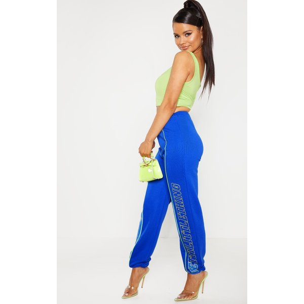 PrettyLittleThing - petite cobalt printed joggers - 1