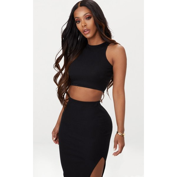 PrettyLittleThing - shape  ribbed sleeveless crop top - 1