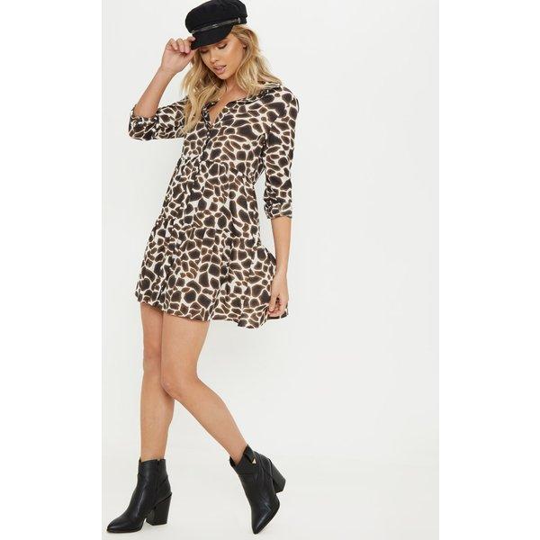 PrettyLittleThing - giraffe print tiered shirt dress - 1