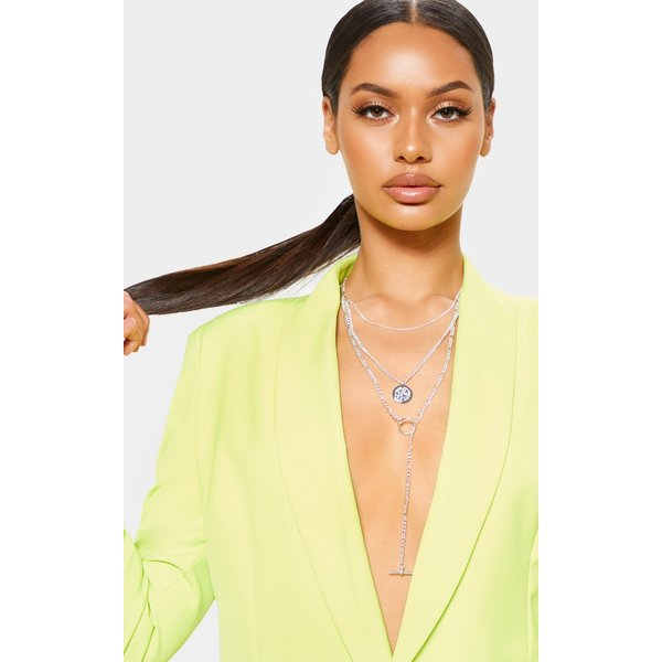 PrettyLittleThing - t bar and disc multi-layer necklace - 1