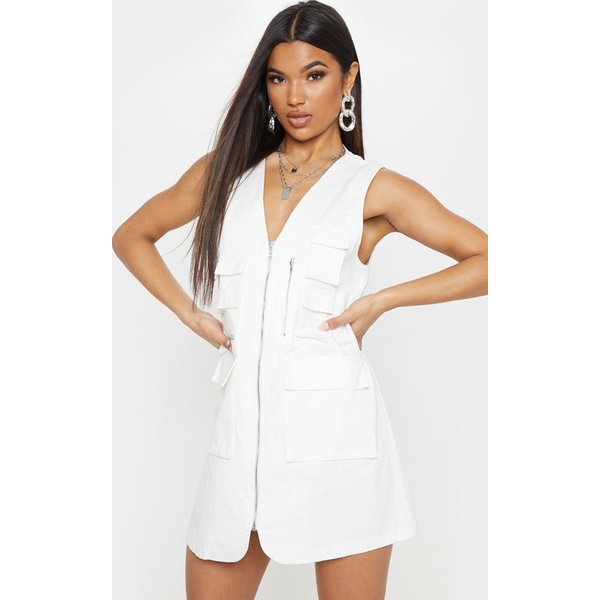 PrettyLittleThing - robe droite he style cargo à poches et zip - 1