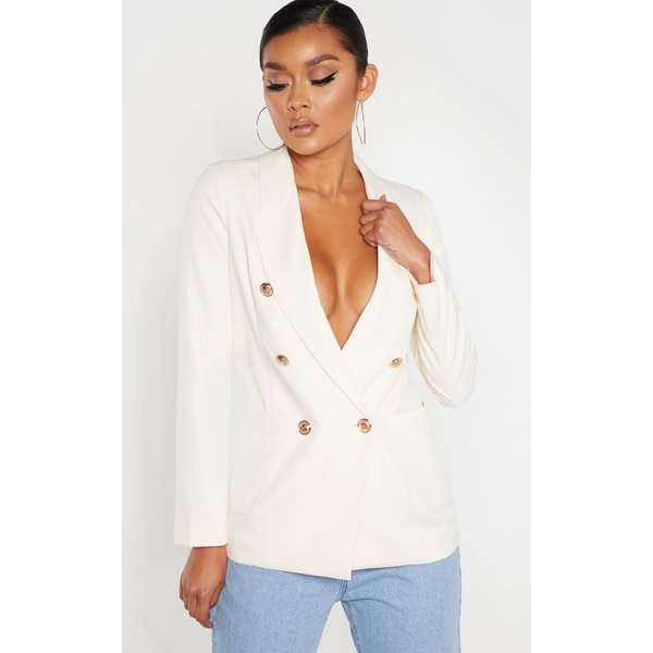 PrettyLittleThing - double breasted military style woven blazer - 1