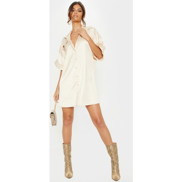 PrettyLittleThing - satin pocket front short sleeve shirt dress - 1