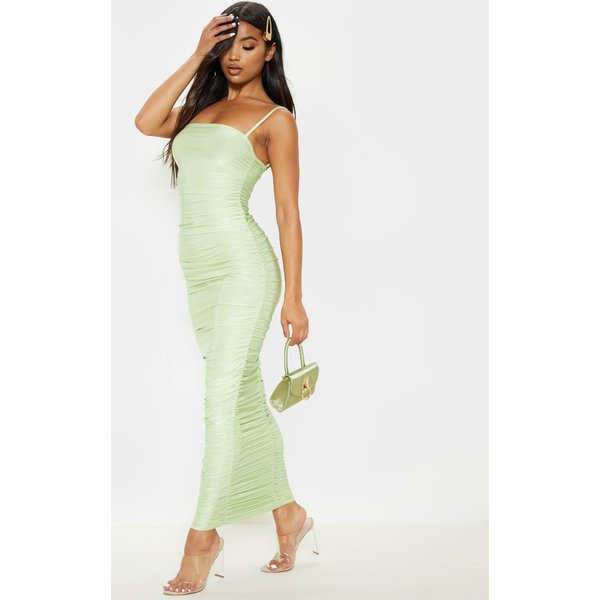 PrettyLittleThing - strappy slinky ruched back maxi dress - 1