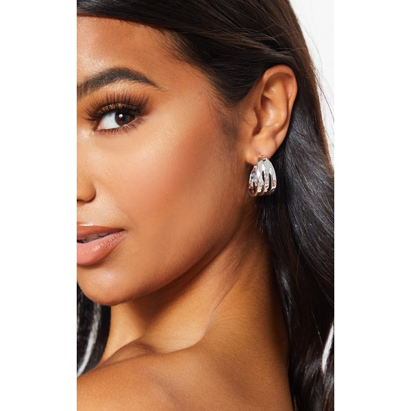 PrettyLittleThing - mini triple row earring hoops - 1