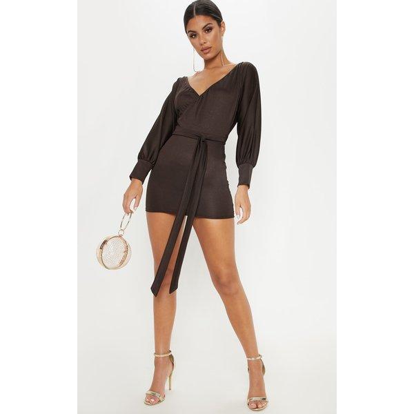 PrettyLittleThing - robe cache-coeur à nouer en jersey marron chocolat - 1
