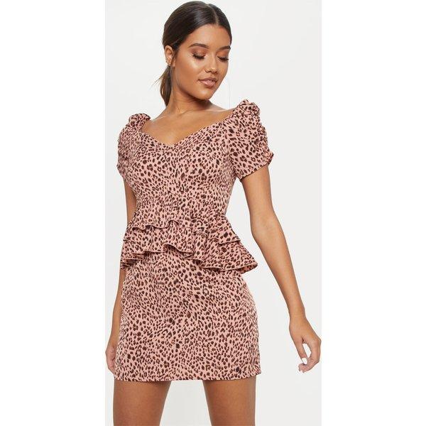 PrettyLittleThing - robe  mini à étages imprimé léopard - 1