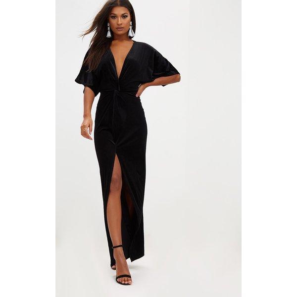 PrettyLittleThing - velvet kimono sleeve maxi dress - 1