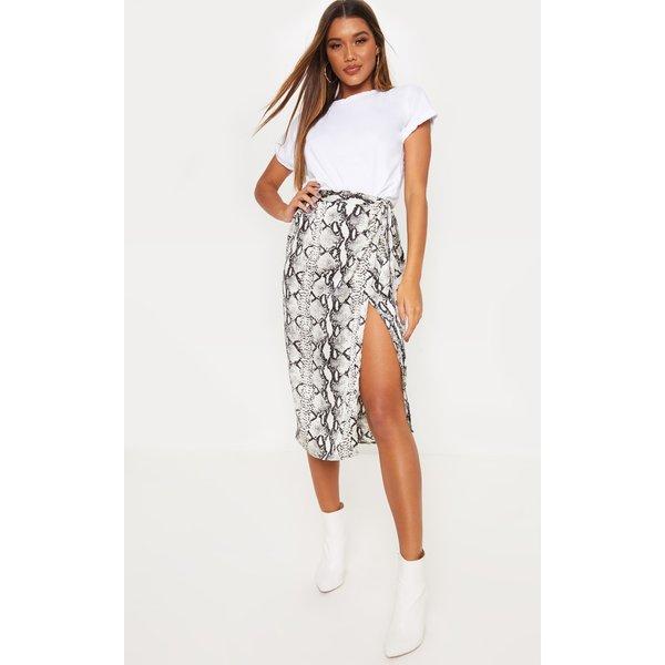 PrettyLittleThing - satin printed wrap around midi skirt - 1