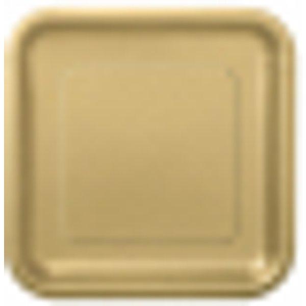 Assiettes carton jetables à dessert carrée or