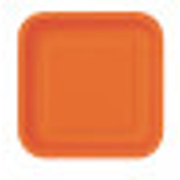 Assiettes carton jetables à dessert carrée orange