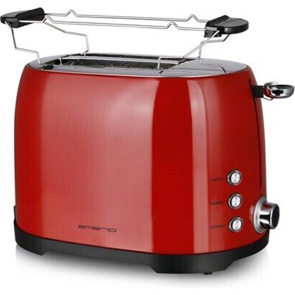 Emerio Toaster 2 Scheiben, Thermostat, Aufsatz rot