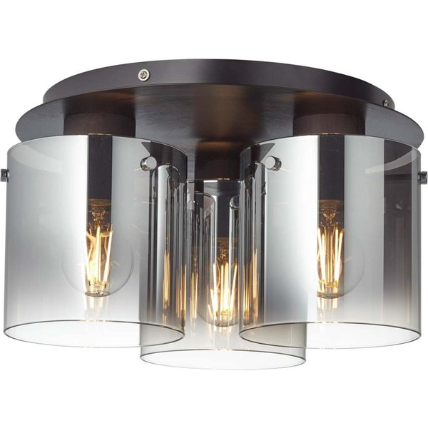 Ceiling lamp Beth with smoked glass, three-bulb