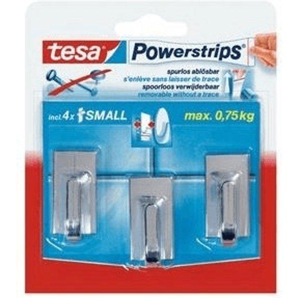 Tesa 3 mini crochets rectangulaires + 4 mini powerstrips - chrome