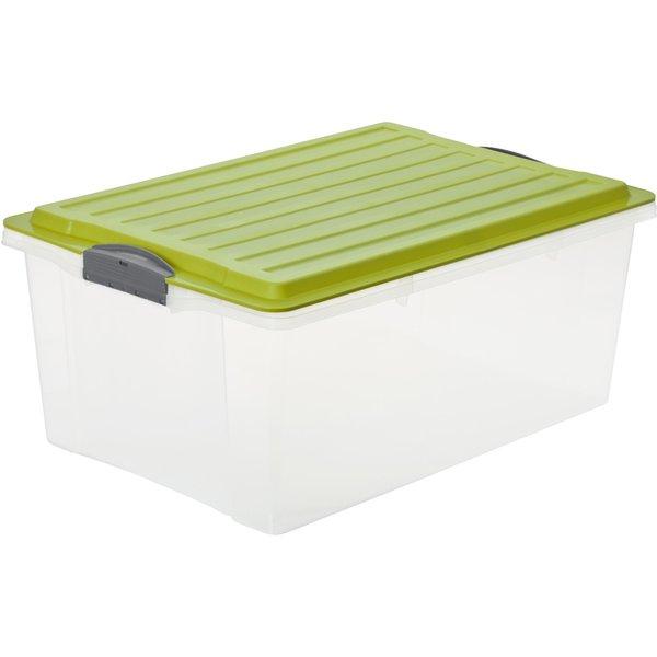 Rotho COMPACT Stapelbox, 38 Liter, Aufbewahrungsbox mit enormen Fassungsvermögen und beidseitig verwendbarem Deckel, Farbe: transparent / grün