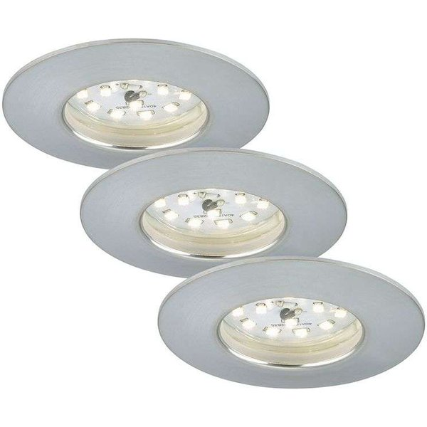 Set de 3 spots encastrés LED Felia IP44, alu