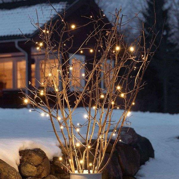 LED-Außenlichterkette, 20 Dioden, schwarzes Kabel, batterie